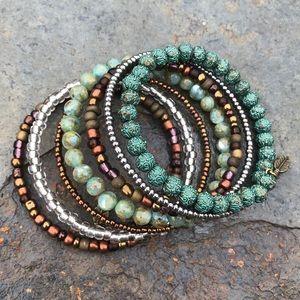 Handmade green natural shell & metal wrap bracelet